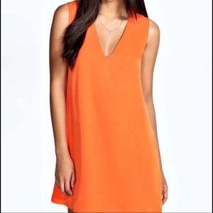H&M Orange V-neck Dress with Pink Lining
